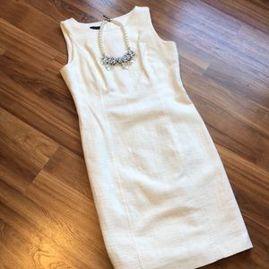 Talbots Ivory Textured Cotton Lined Sheath Dress